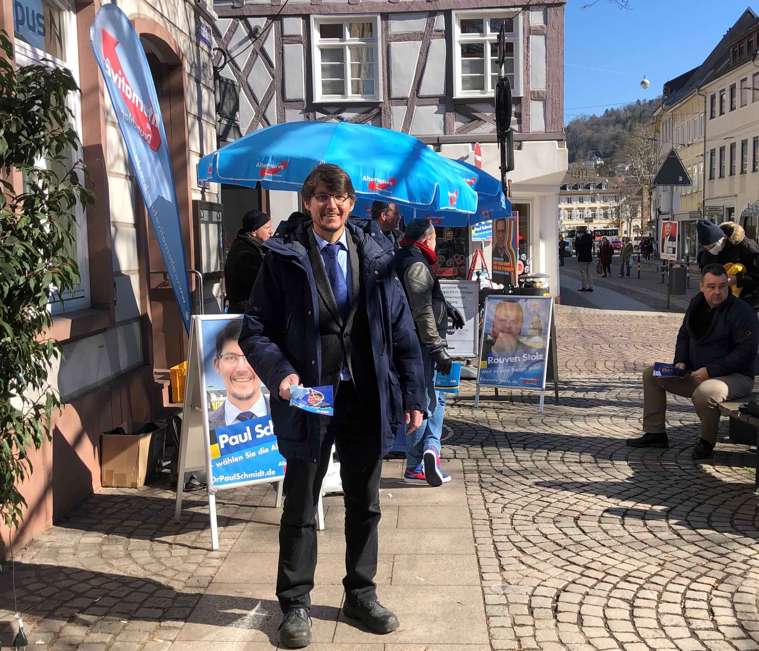 Am Wahlkampfstand in Durlach am 06.03.2021